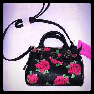NWT Betsey Johnson rose barrel purse